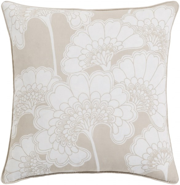 Japanese Floral Beige Ivory Poly Linen Cotton Throw Pillow - 20x20 JA001-2020P
