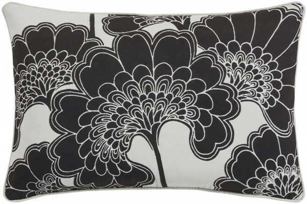 Japanese Floral Black Ivory Poly Linen Cotton Lumbar Pillow - 20x13 JA002-1320P