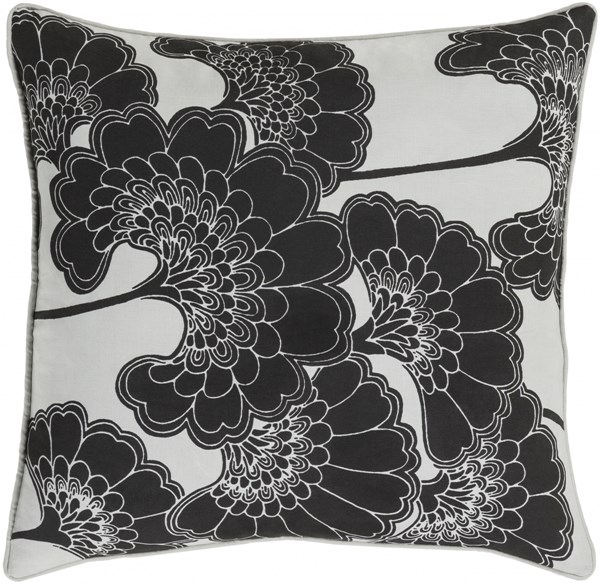 Japanese Floral Black Ivory Poly Linen Cotton Throw Pillow - 20x20 JA002-2020P