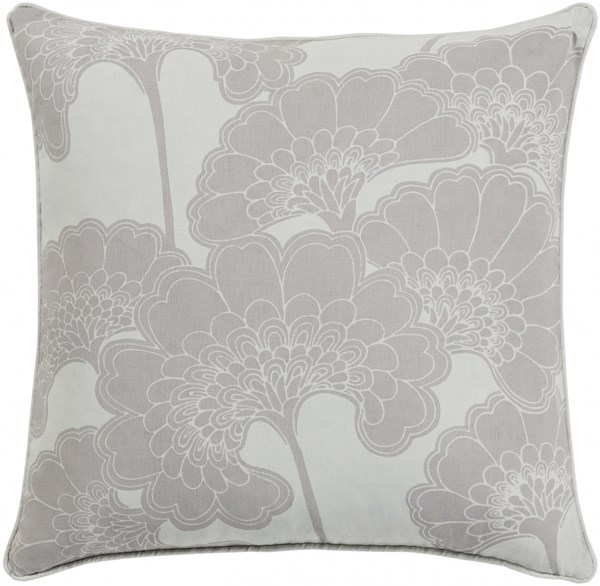 Japanese Floral Taupe Poly Linen Cotton Throw Pillow - 20x20x5 JA003-2020P