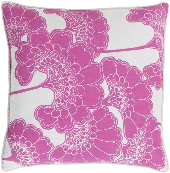 Japanese Floral Pink Ivory Poly Linen Cotton Throw Pillow - 20x20x5 JA004-2020P