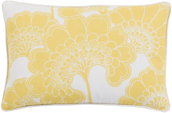 Japanese Floral Lemon Ivory Poly Linen Cotton Lumbar Pillow - 20x13 JA005-1320P