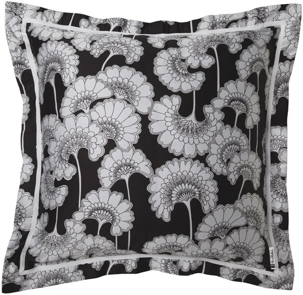 Japanese Floral Ivory Light Gray Black Cotton Sateen Euro Sham JFB2002-ES