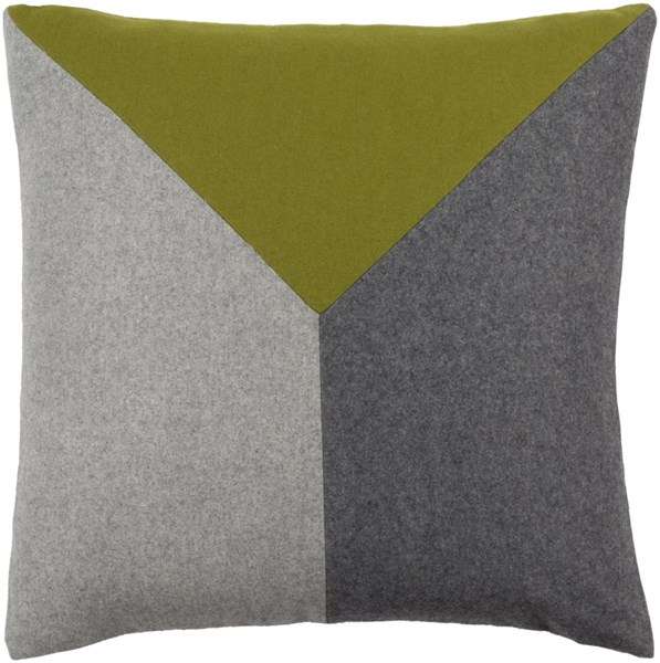 Jonah Lime Light Gray Poly Wool Viscose Throw Pillow - 22x22x5 JH001-2222P