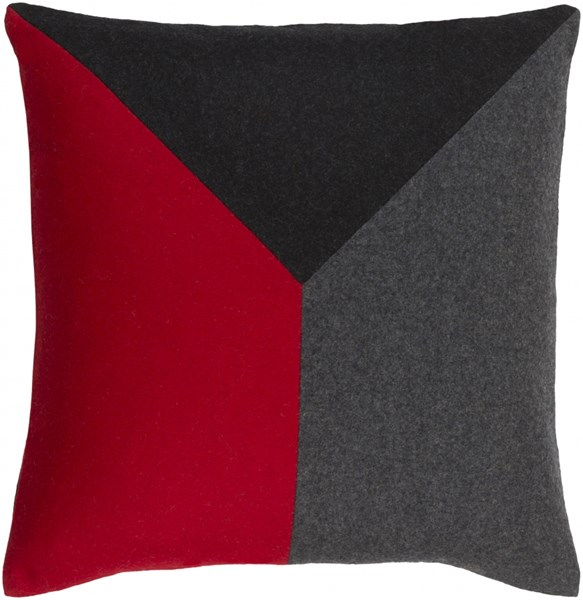 Jonah Cherry Black Gray Wool Viscose Throw Pillow - 18x18x4 JH002-1818P