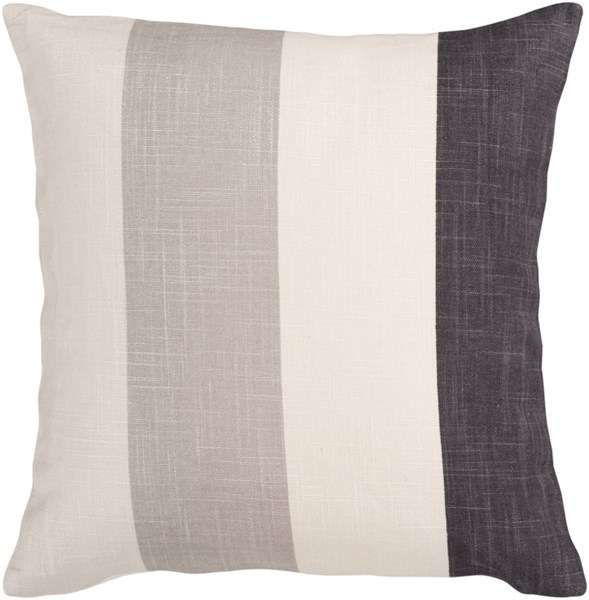 Simple Stripe Beige Charcoal Taupe Poly Linen Throw Pillow- 22x22x5 JS011-2222P