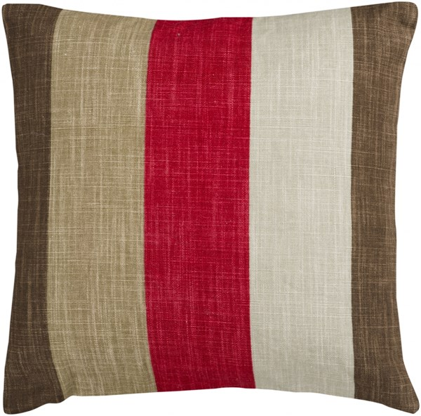 Simple Stripe Beige Olive Cherry Poly Linen Throw Pillow - 18x18x4 JS012-1818P
