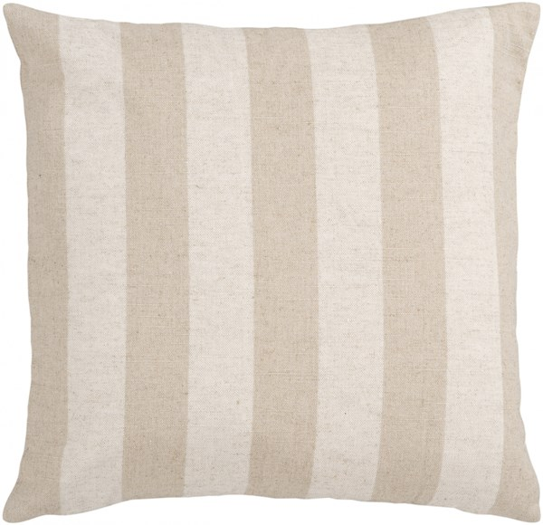 Simple Stripe Beige Gray Down Linen Cotton Throw Pillow - 18x18x4 JS015-1818D