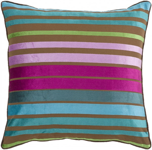 Velvet Stripe Teal Magenta Taupe Poly Cotton Throw Pillow - 18x18x4 JS019-1818P