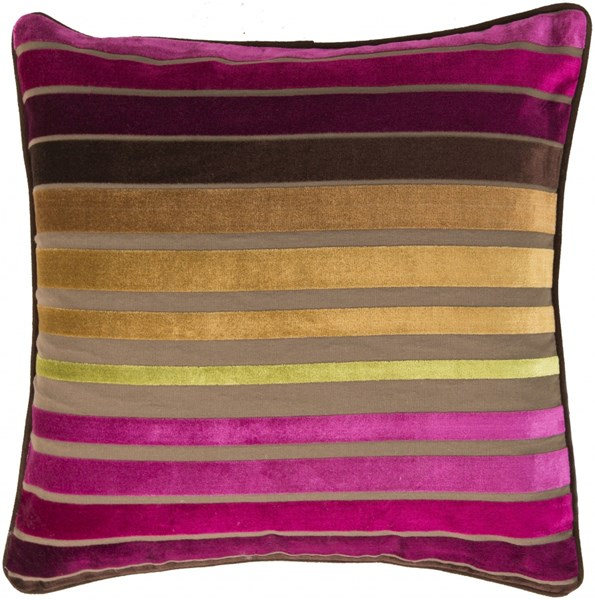 Velvet Stripe Magenta Gold Lime Down Cotton Throw Pillow - 22x22x5 JS020-2222D
