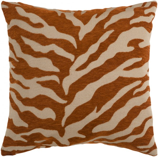 Velvet Zebra Olive Rust Poly Throw Pillow - 22x22x5 JS028-2222P