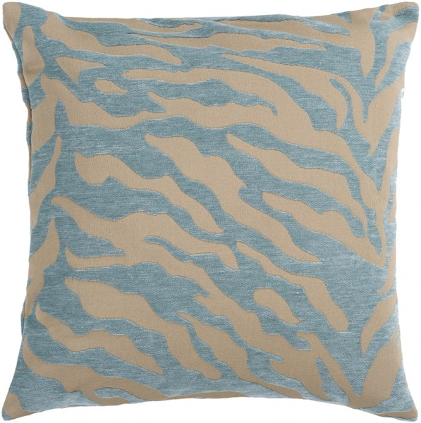 Velvet Zebra Olive Teal Poly Throw Pillow - 18x18x4 JS030-1818P