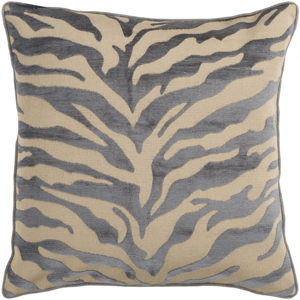 Velvet Zebra Olive Charcoal Down Throw Pillow - 18x18x4 JS032-1818D
