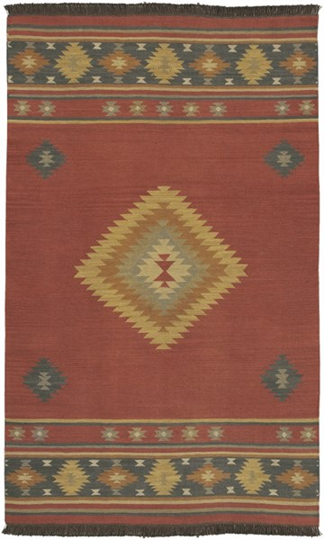 Jewel Tone Navy Rust Olive Beige Forest Taupe Wool Area Rug - 60 x 96 JT1033-58