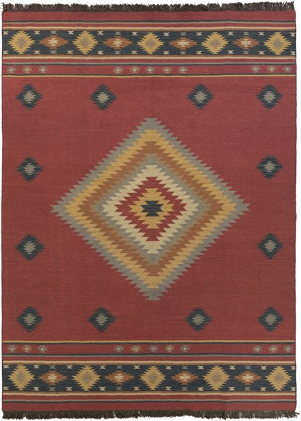Jewel Tone Navy Rust Olive Beige Forest Taupe Wool Area Rug - 96 x 132 JT1033-811