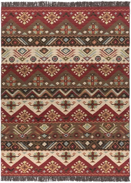 Surya Jewel Tone Khaki Dark Red Brown Wool Area Rug - 132x96 JT8-811