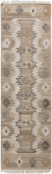 Jewel Tone II Light Gray Taupe Olive Olive Beige Wool Runner - 30 x 96 1379-VAR1
