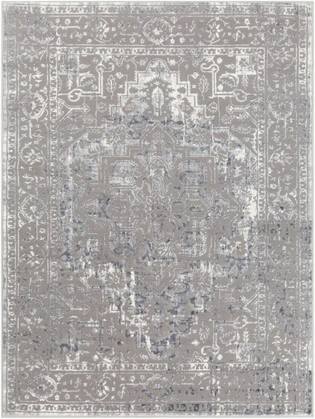 Surya Katmandu Light Gray Charcoal White Polyester Area Rug - 87x63 KAT2305-5373