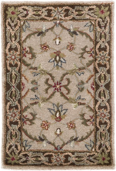 Kensington Burgundy Gray Beige Wool Area Rug - 24 x 36 KEN1021-23