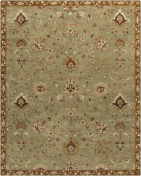 Kensington Lime Chocolate Taupe Wool Area Rug - 60 x 93 KEN1043-579