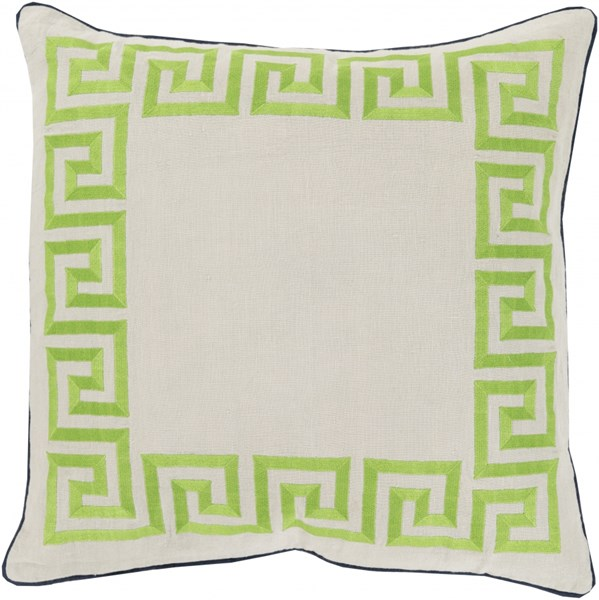 Key Sea Foam Lime Navy Poly Linen Throw Pillow - 22x22x5 KLD001-2222P