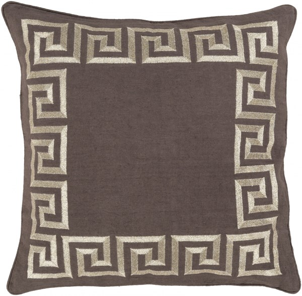 Key Charcoal Gold Down Linen Throw Pillow - 22x22x5 KLD004-2222D