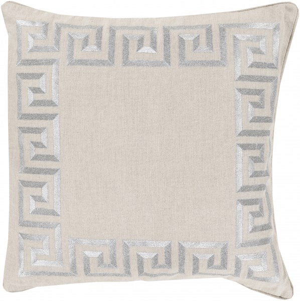 Key Light Gray Poly Linen Throw Pillow - 20x20x5 KLD007-2020P