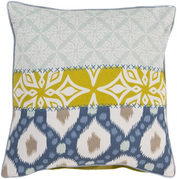 Pattern Mix Blue Lime Light Gray Poly Cotton Throw Pillow - 20x20x5 KS009-2020P