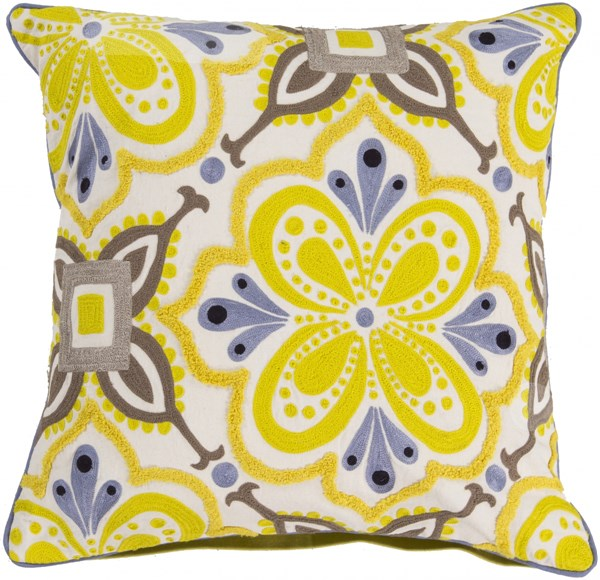 Alhambra Embroidered Lime Taupe Poly Cotton Throw Pillow - 20x20x5 KS013-2020P
