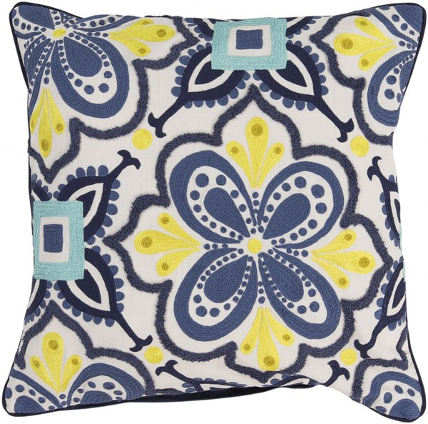 Alhambra Embroidered Cobalt Lime Down Cotton Throw Pillow - 20x20x5 KS014-2020D