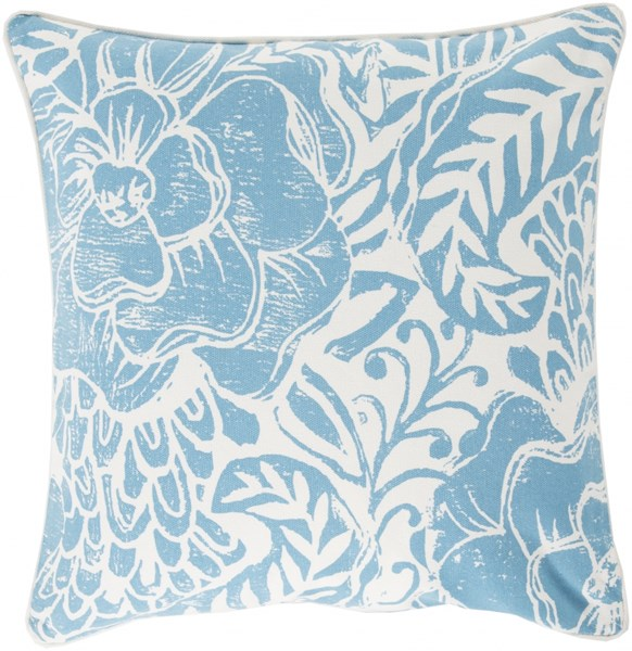 Floral Block Print Blue Ivory Down Cotton Throw Pillow - 22x22x5 KSA002-2222D