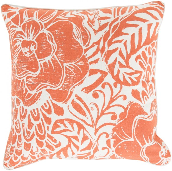 Floral Block Print Poppy Ivory Down Cotton Throw Pillow - 22x22x5 KSA003-2222D