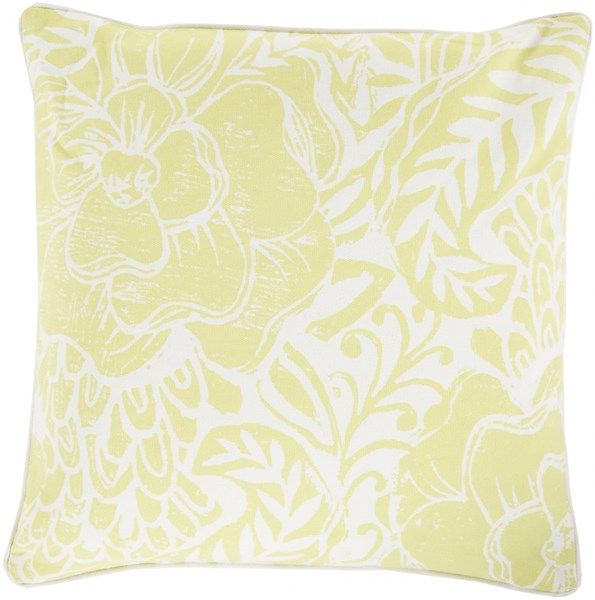 Floral Block Print Butter Ivory Down Cotton Throw Pillow - 18x18x4 KSA004-1818D