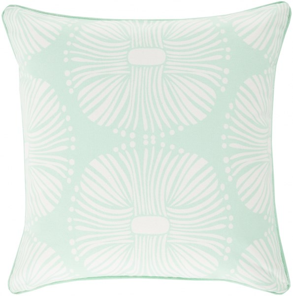 Burst Contemporary Mint Ivory Cotton Throw Pillows 13413-VAR1