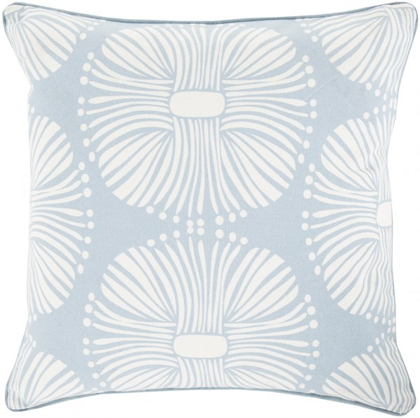Burst Sky Blue Ivory Down Cotton Throw Pillow - 20x20x5 KSB004-2020D