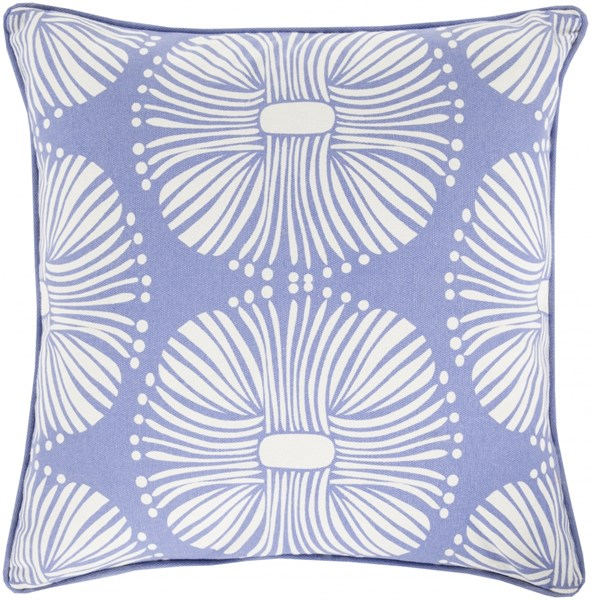 Burst Blue Ivory Down Cotton Throw Pillow - 18x18x4 KSB005-1818D