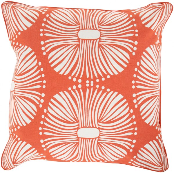 Burst Poppy Ivory Down Cotton Throw Pillow - 22x22x5 KSB006-2222D