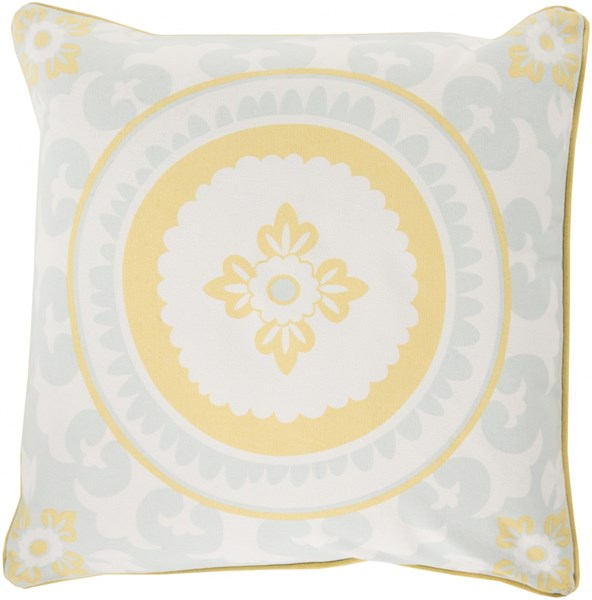 Celestial Butter Sky Blue Ivory Poly Cotton Throw Pillow - 18x18x4 KSC001-1818P