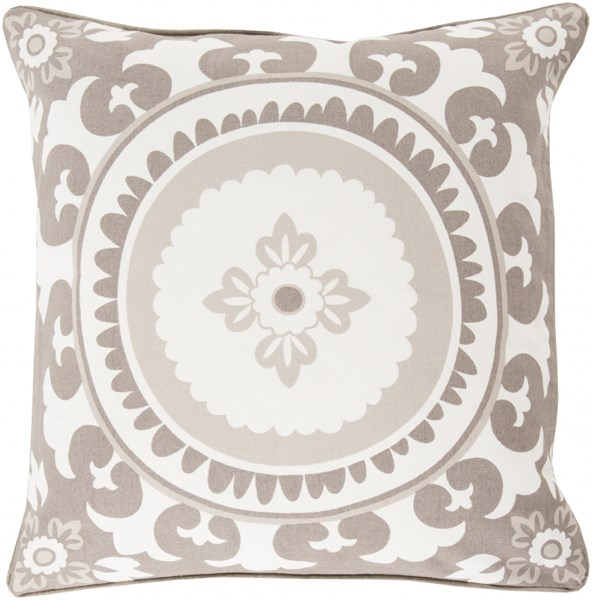Celestial Ivory Olive Light Gray Down Cotton Throw Pillow - 18x18x4 KSC003-1818D