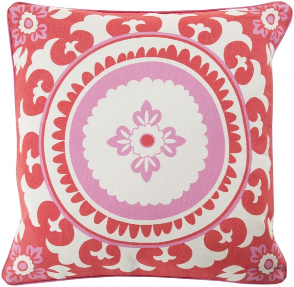 Celestial Poppy Carnation Ivory Poly Cotton Throw Pillow - 20x20x5 KSC006-2020P