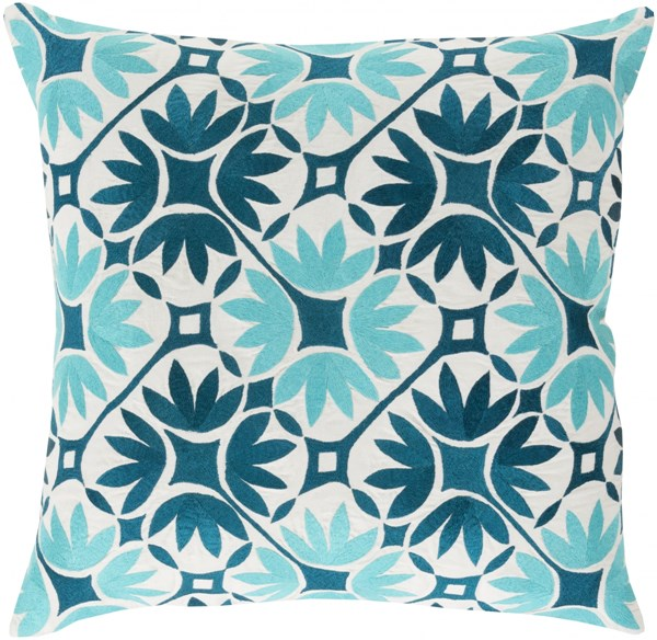 Floral Geo Teal Aqua Ivory Poly Cotton Throw Pillow - 22x22x5 KSF001-2222P