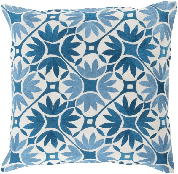 Floral Geo Teal Slate Ivory Poly Cotton Throw Pillow - 20x20x5 KSF002-2020P
