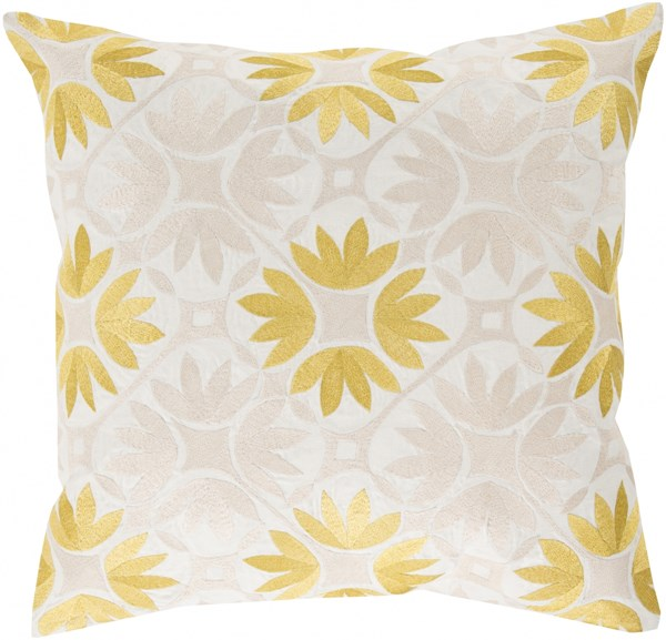 Floral Geo Gold Beige Ivory Poly Cotton Throw Pillow - 22x22x5 KSF003-2222P