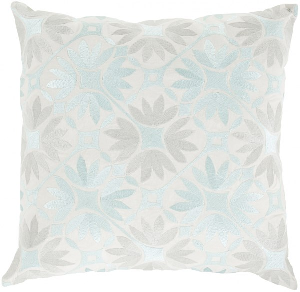 Floral Geo Light Gray Ivory Poly Cotton Throw Pillow - 22x22x5 KSF005-2222P