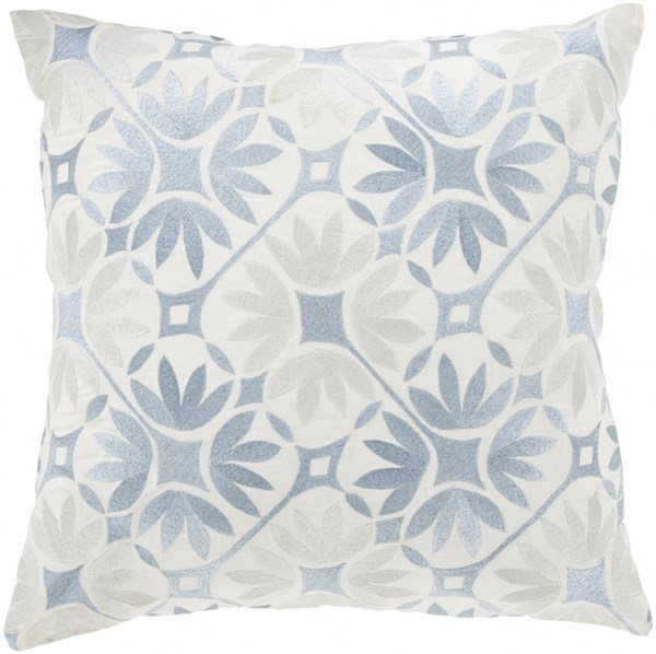 Floral Geo Dark Gray Ivory Poly Cotton Throw Pillow - 22x22x5 KSF006-2222P