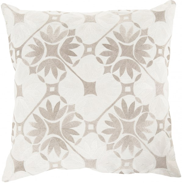 Floral Geo Ivory Olive Gray Poly Cotton Throw Pillow - 22x22x5 KSF007-2222P