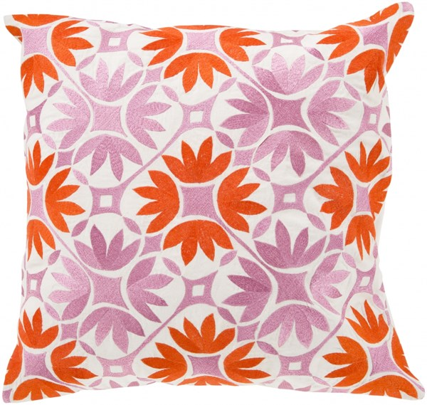 Floral Geo Poppy Carnation Ivory Poly Cotton Throw Pillow - 22x22x5 KSF008-2222P