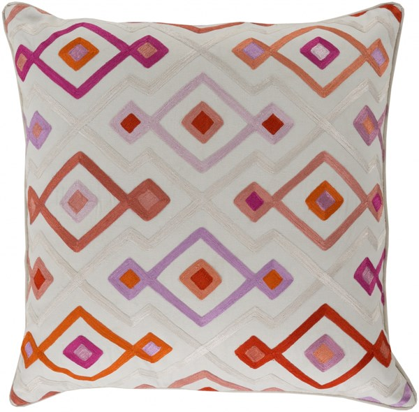Woven Geo Rust Pink Ivory Poly Cotton Throw Pillow - 18x18x4 KSG002-1818P