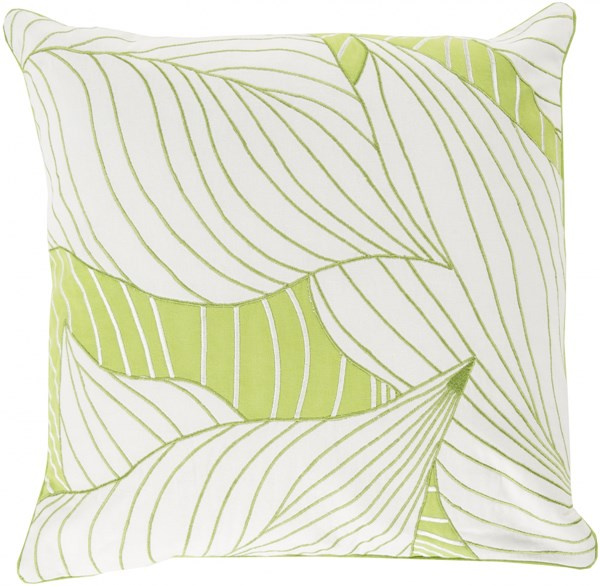 Hosta Contemporary Ivory Olive Cotton Throw Pillows 13417-VAR1
