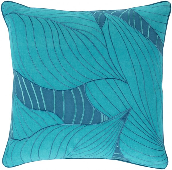 Hosta Teal Cobalt Down Cotton Throw Pillow - 20x20x5 KSH002-2020D